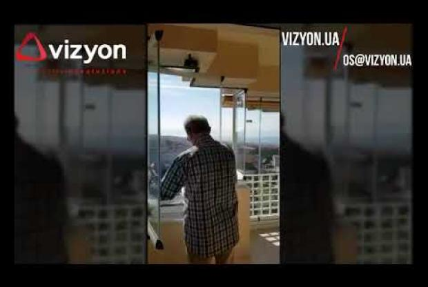 Embedded thumbnail for Vizyon frameless sliding system goes through several angles